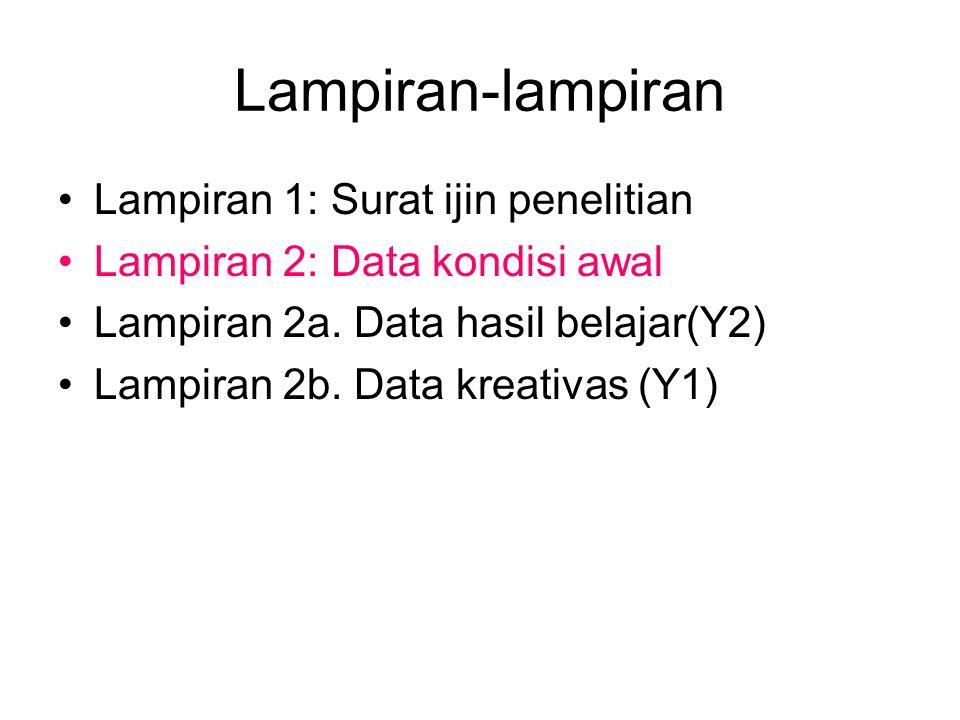 Lampiran-lampiran Lampiran 1: Surat ijin penelitian Lampiran 2: Data kondisi awal Lampiran 2a.