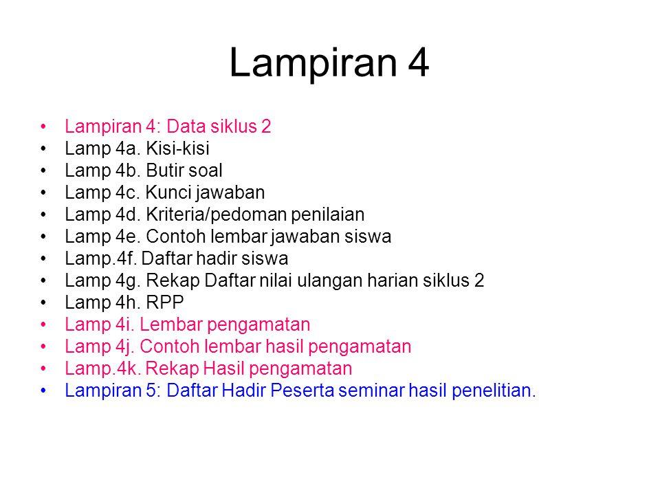 Lampiran 4 Lampiran 4: Data siklus 2 Lamp 4a.Kisi-kisi Lamp 4b.