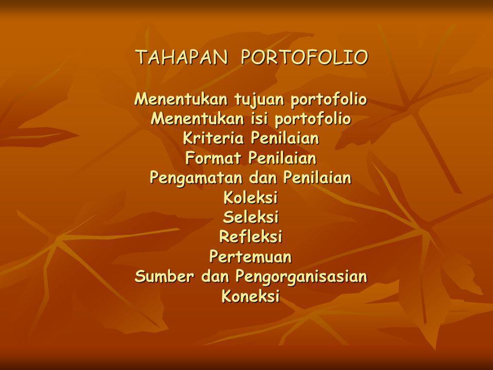 TAHAPAN PORTOFOLIO Menentukan tujuan portofolio Menentukan isi portofolio Kriteria Penilaian Format Penilaian Pengamatan dan Penilaian Koleksi Seleksi