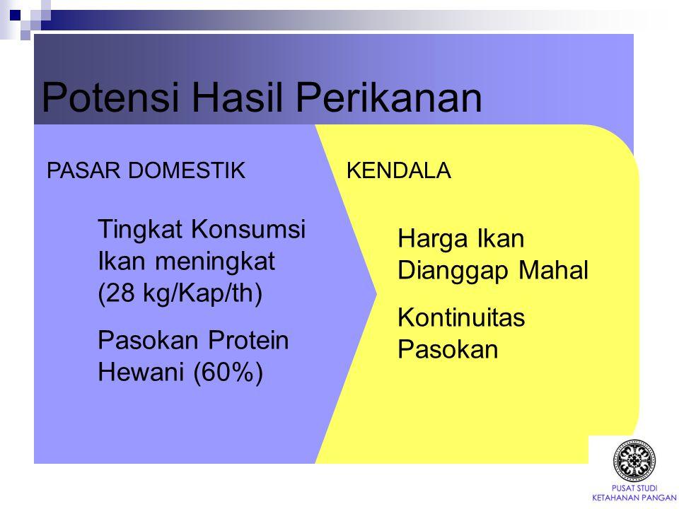 Potensi Hasil Perikanan Harga Ikan Dianggap Mahal Kontinuitas Pasokan Tingkat Konsumsi Ikan meningkat (28 kg/Kap/th) Pasokan Protein Hewani (60%) PASA
