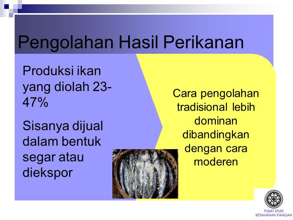 Pengolahan Hasil Perikanan Produksi ikan yang diolah 23- 47% Sisanya dijual dalam bentuk segar atau diekspor Cara pengolahan tradisional lebih dominan