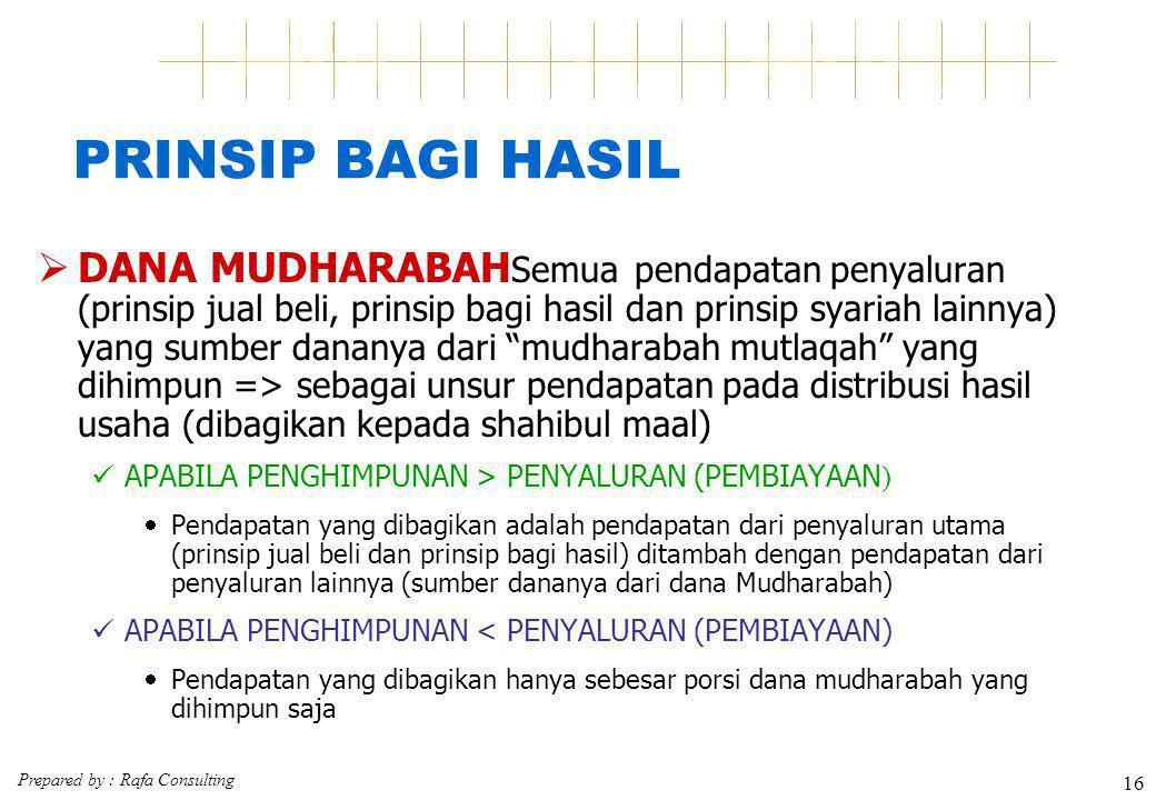 Prepared by : Rafa Consulting 16 PRINSIP BAGI HASIL  DANA MUDHARABAH Semua pendapatan penyaluran (prinsip jual beli, prinsip bagi hasil dan prinsip s