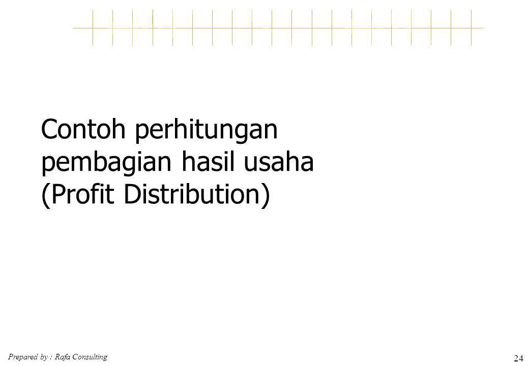 Prepared by : Rafa Consulting 24 Contoh perhitungan pembagian hasil usaha (Profit Distribution)