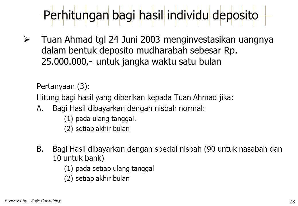 Prepared by : Rafa Consulting 28 Perhitungan bagi hasil individu deposito  Tuan Ahmad tgl 24 Juni 2003 menginvestasikan uangnya dalam bentuk deposito