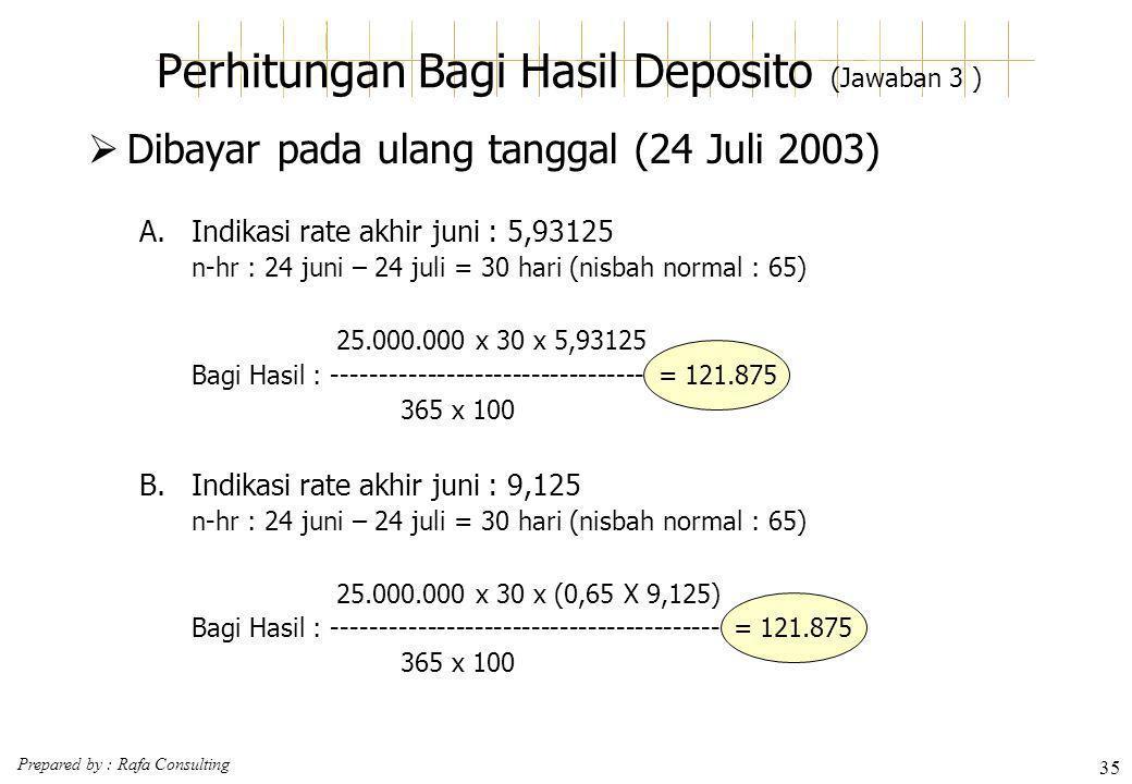 Prepared by : Rafa Consulting 35 Perhitungan Bagi Hasil Deposito (Jawaban 3 )  Dibayar pada ulang tanggal (24 Juli 2003) A.Indikasi rate akhir juni :