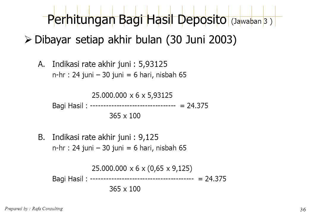 Prepared by : Rafa Consulting 36 Perhitungan Bagi Hasil Deposito (Jawaban 3 )  Dibayar setiap akhir bulan (30 Juni 2003) A.Indikasi rate akhir juni :