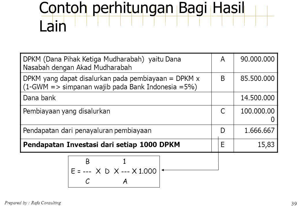 Prepared by : Rafa Consulting 39 Contoh perhitungan Bagi Hasil Lain DPKM (Dana Pihak Ketiga Mudharabah) yaitu Dana Nasabah dengan Akad Mudharabah A90.