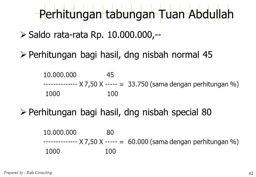 Prepared by : Rafa Consulting 42 Perhitungan tabungan Tuan Abdullah  Saldo rata-rataRp. 10.000.000,--  Perhitungan bagi hasil, dng nisbah normal 45