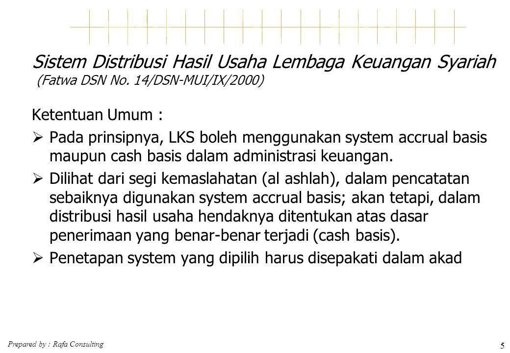 Prepared by : Rafa Consulting 5 Sistem Distribusi Hasil Usaha Lembaga Keuangan Syariah (Fatwa DSN No. 14/DSN-MUI/IX/2000) Ketentuan Umum :  Pada prin