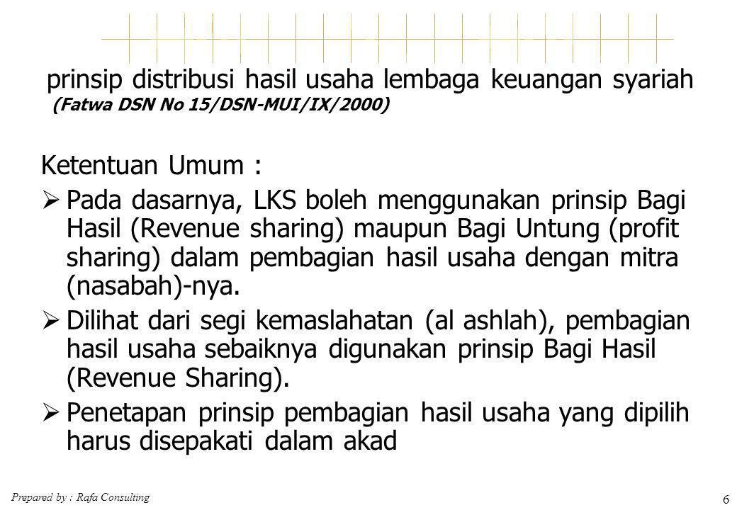 Prepared by : Rafa Consulting 6 prinsip distribusi hasil usaha lembaga keuangan syariah (Fatwa DSN No 15/DSN-MUI/IX/2000) Ketentuan Umum :  Pada dasa