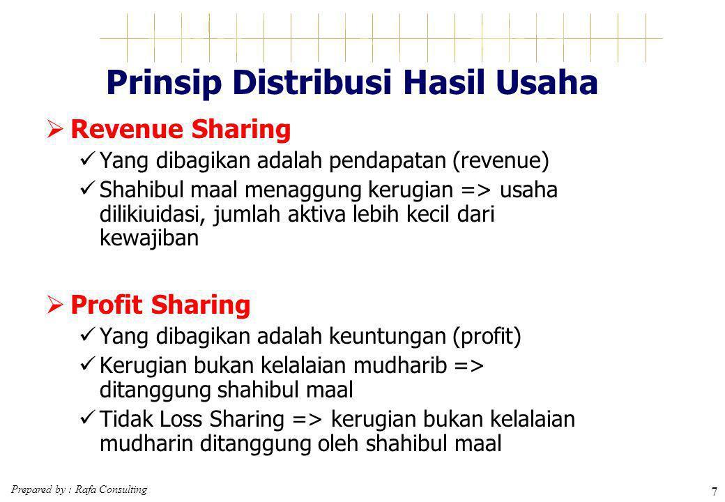 Prepared by : Rafa Consulting 7 Prinsip Distribusi Hasil Usaha  Revenue Sharing Yang dibagikan adalah pendapatan (revenue) Shahibul maal menaggung ke