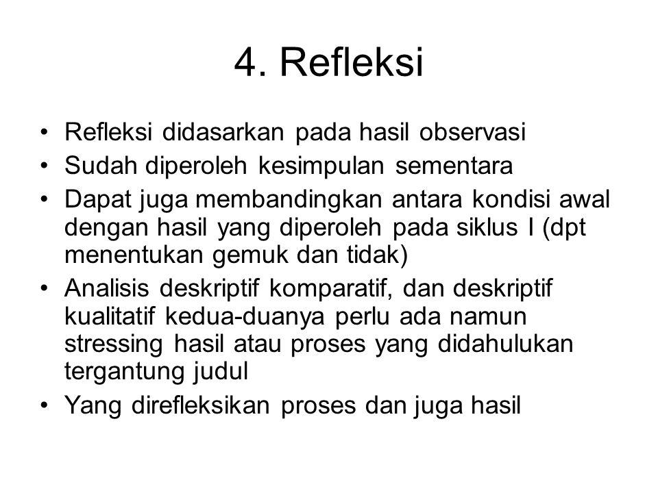 4. Refleksi Refleksi didasarkan pada hasil observasi Sudah diperoleh kesimpulan sementara Dapat juga membandingkan antara kondisi awal dengan hasil ya