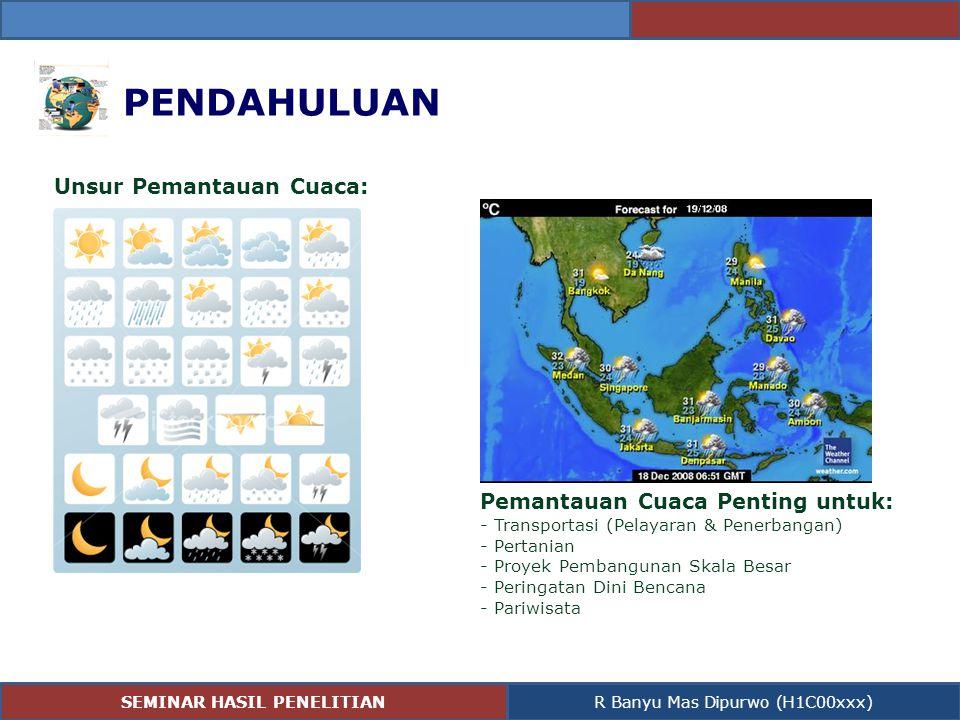 PENDAHULUAN Unsur Pemantauan Cuaca: Pemantauan Cuaca Penting untuk: - Transportasi (Pelayaran & Penerbangan) - Pertanian - Proyek Pembangunan Skala Be