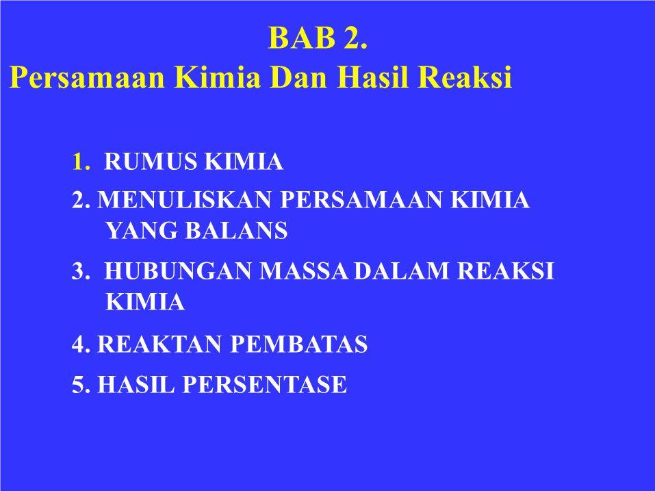 BAB 2. Persamaan Kimia Dan Hasil Reaksi 1. RUMUS KIMIA 2. MENULISKAN PERSAMAAN KIMIA YANG BALANS 3. HUBUNGAN MASSA DALAM REAKSI KIMIA 4. REAKTAN PEMBA