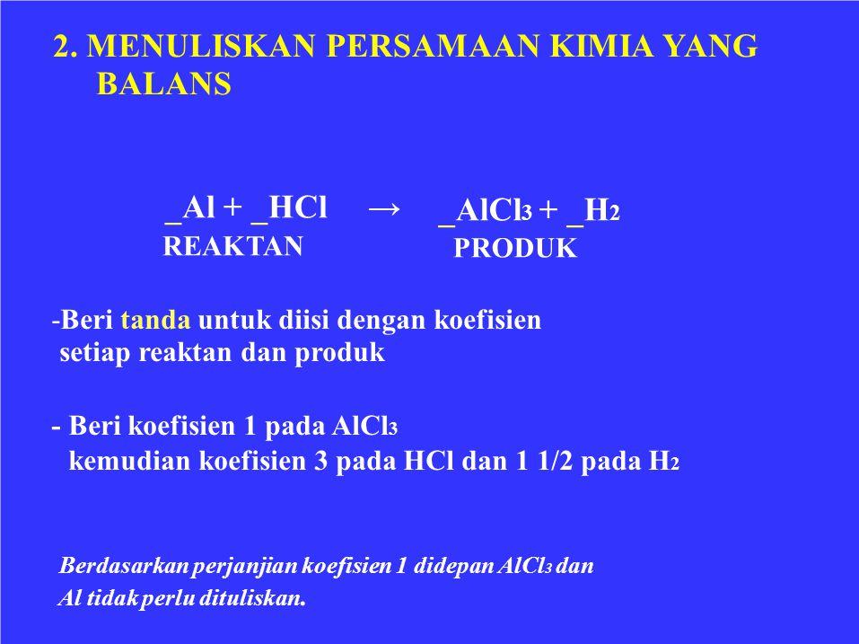 2. MENULISKAN PERSAMAAN KIMIA YANG BALANS →_Al + _HCl REAKTAN _AlCl 3 + _H 2 PRODUK -Beri tanda untuk diisi dengan koefisien setiap reaktan dan produk
