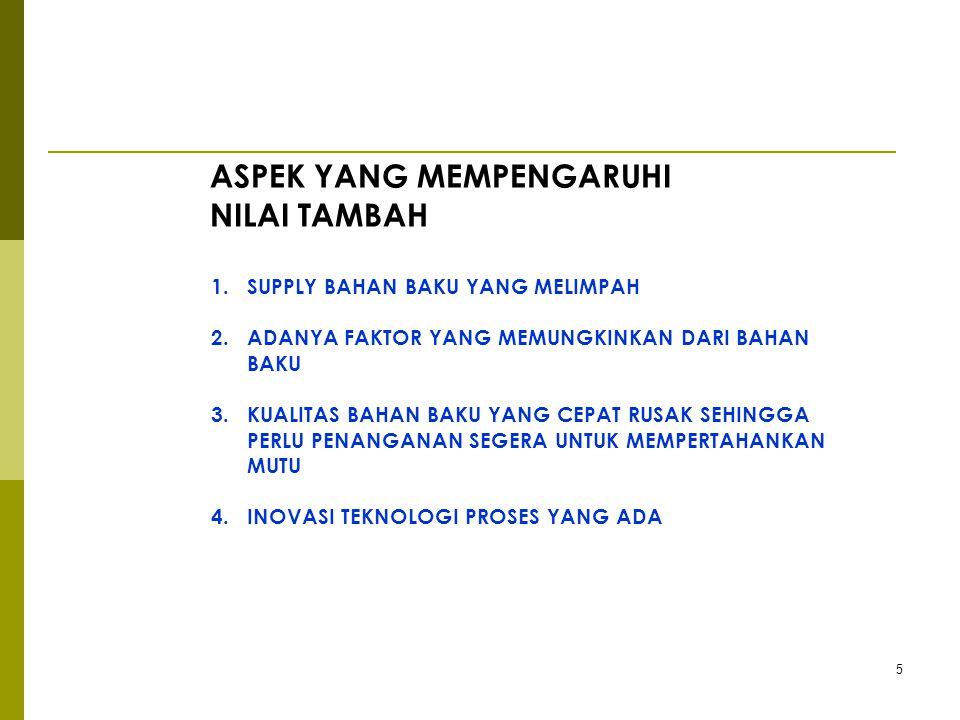 5 1.SUPPLY BAHAN BAKU YANG MELIMPAH 2.ADANYA FAKTOR YANG MEMUNGKINKAN DARI BAHAN BAKU 3.KUALITAS BAHAN BAKU YANG CEPAT RUSAK SEHINGGA PERLU PENANGANAN