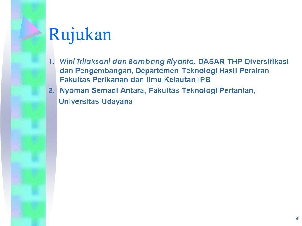 Rujukan 1. Wini Trilaksani dan Bambang Riyanto, DASAR THP-Diversifikasi dan Pengembangan, Departemen Teknologi Hasil Perairan Fakultas Perikanan dan I