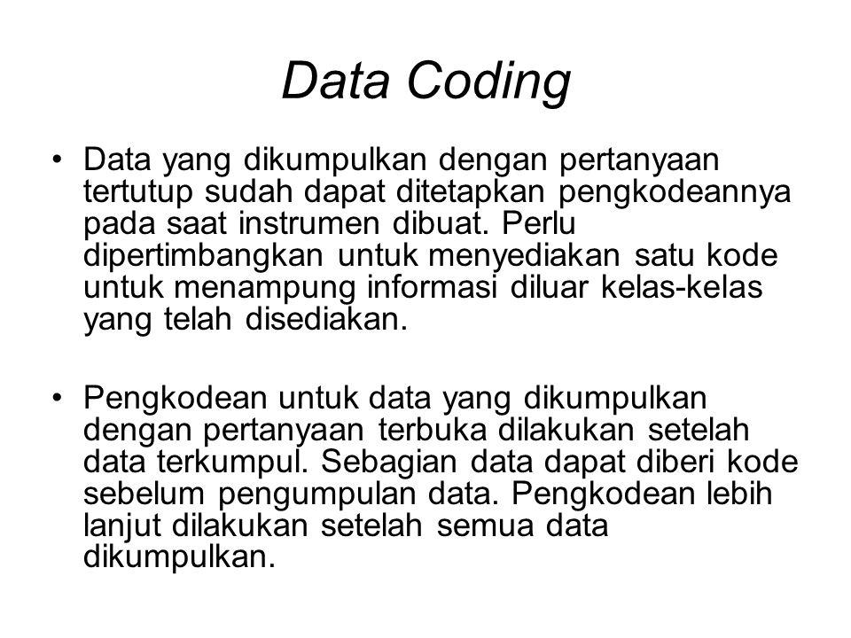 Data Coding Data yang dikumpulkan dengan pertanyaan tertutup sudah dapat ditetapkan pengkodeannya pada saat instrumen dibuat.