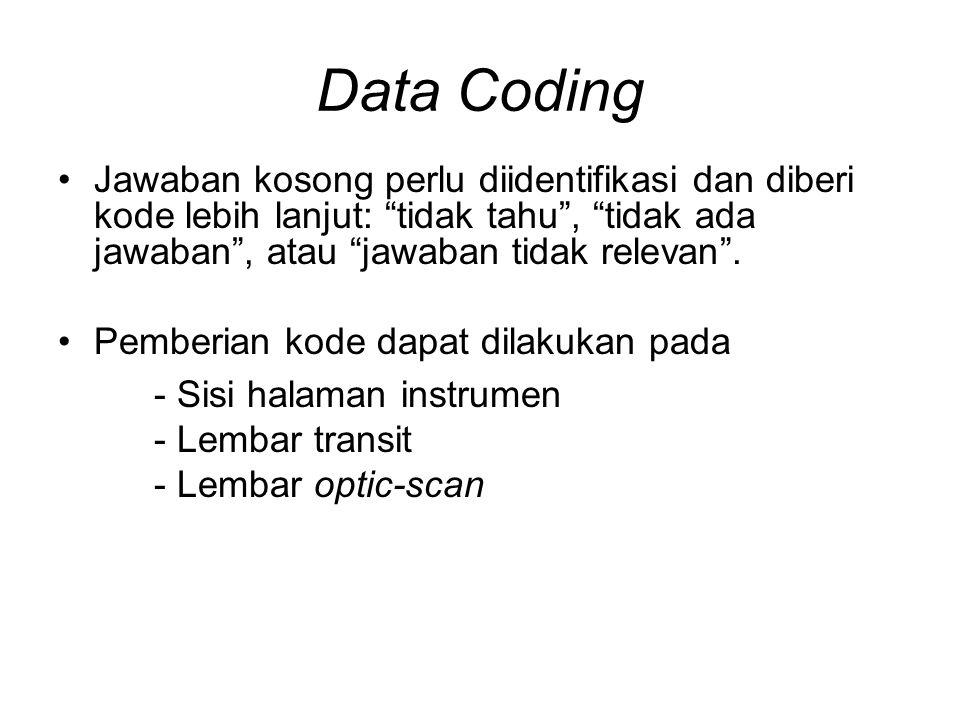 Data Coding Jawaban kosong perlu diidentifikasi dan diberi kode lebih lanjut: tidak tahu , tidak ada jawaban , atau jawaban tidak relevan .