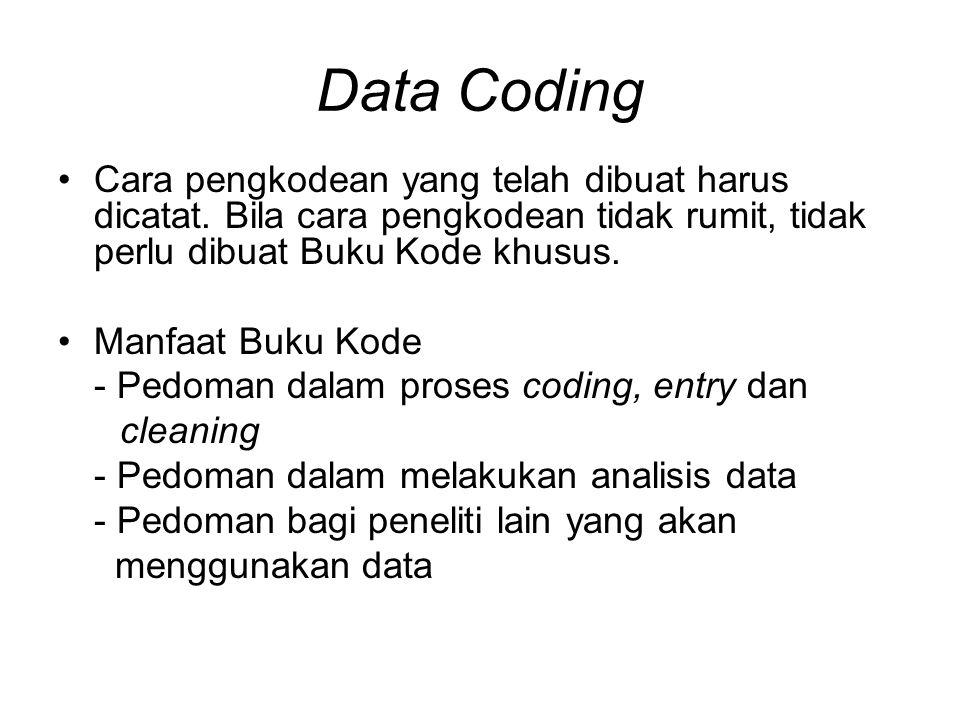 Data Coding Cara pengkodean yang telah dibuat harus dicatat.