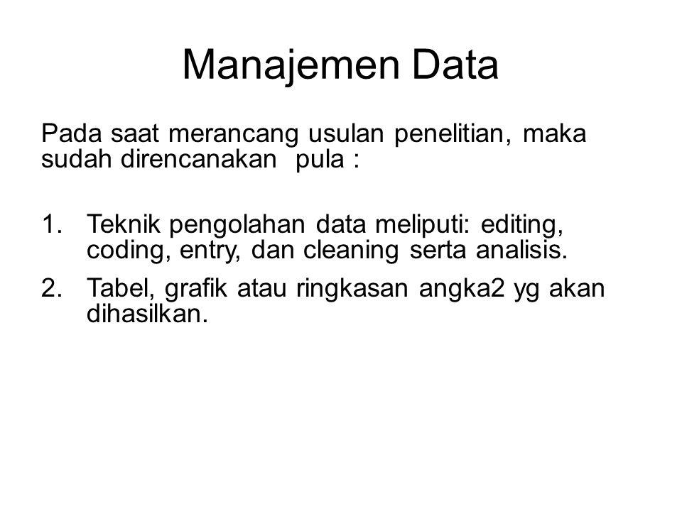 Manajemen Data Pada saat merancang usulan penelitian, maka sudah direncanakan pula : 1.Teknik pengolahan data meliputi: editing, coding, entry, dan cleaning serta analisis.