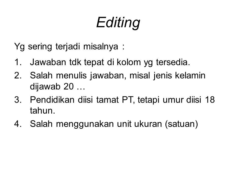 Editing Yg sering terjadi misalnya : 1.Jawaban tdk tepat di kolom yg tersedia.