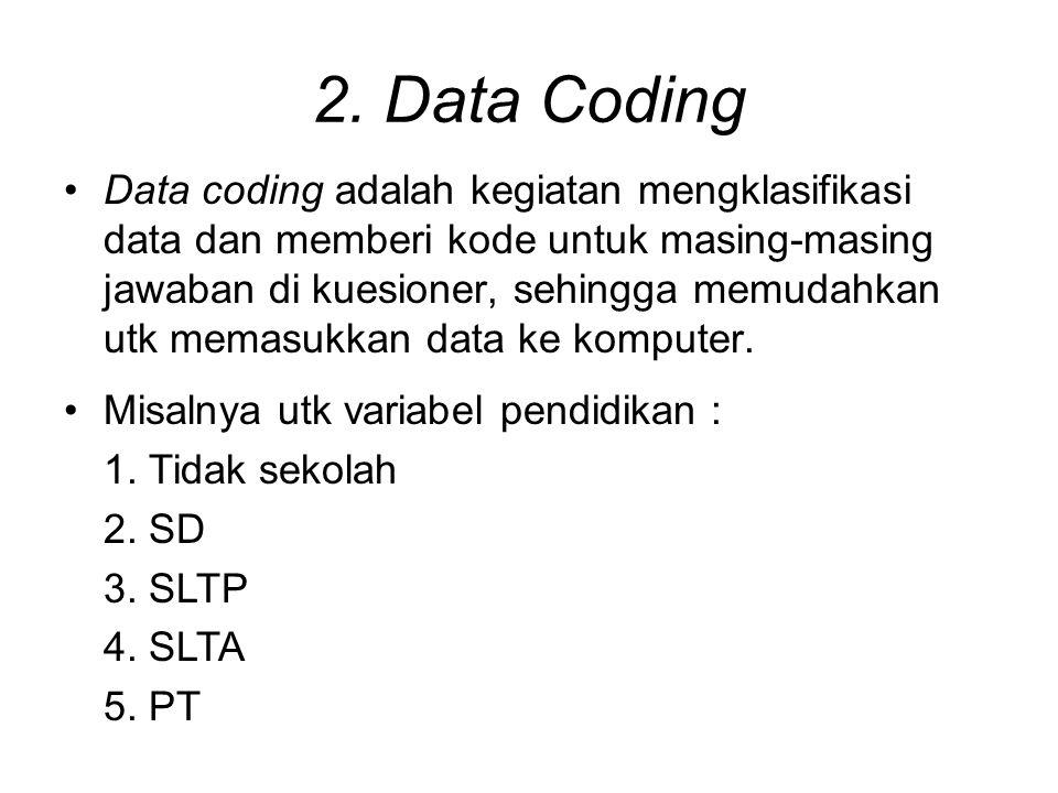 2. Data Coding Data coding adalah kegiatan mengklasifikasi data dan memberi kode untuk masing-masing jawaban di kuesioner, sehingga memudahkan utk mem