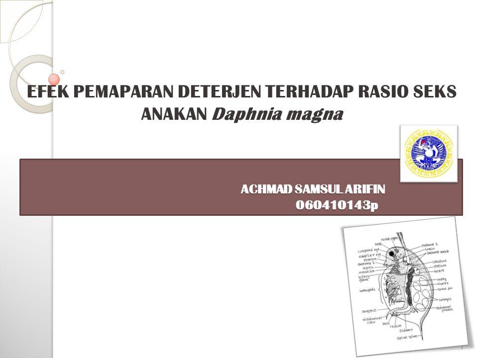 ACHMAD SAMSUL ARIFIN 060410143p ACHMAD SAMSUL ARIFIN 060410143p EFEK PEMAPARAN DETERJEN TERHADAP RASIO SEKS ANAKAN Daphnia magna 1