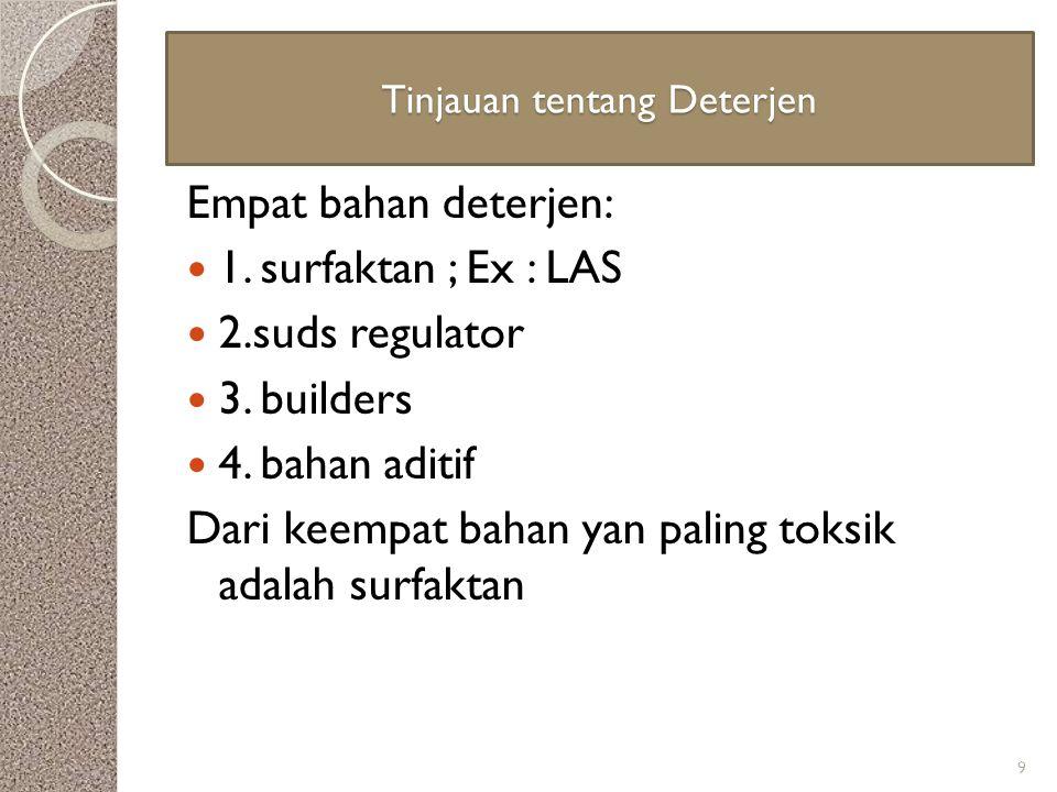 Tinjauan tentang Deterjen Empat bahan deterjen: 1. surfaktan ; Ex : LAS 2.suds regulator 3. builders 4. bahan aditif Dari keempat bahan yan paling tok