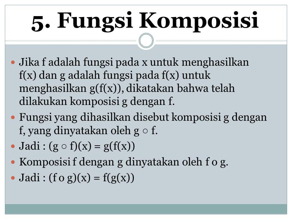 5. Fungsi Komposisi Jika f adalah fungsi pada x untuk menghasilkan f(x) dan g adalah fungsi pada f(x) untuk menghasilkan g(f(x)), dikatakan bahwa tela