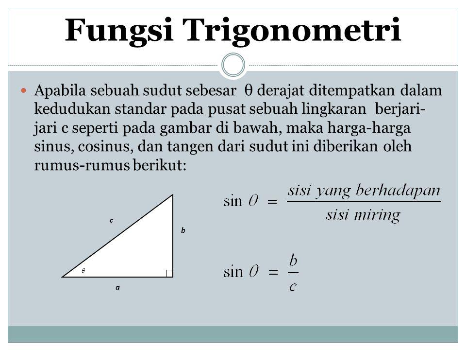 Fungsi Trigonometri Apabila sebuah sudut sebesar θ derajat ditempatkan dalam kedudukan standar pada pusat sebuah lingkaran berjari- jari c seperti pad