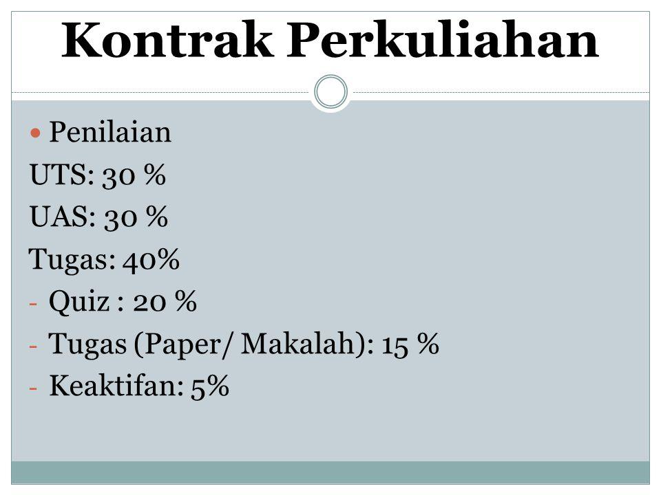 Kontrak Perkuliahan Penilaian UTS: 30 % UAS: 30 % Tugas: 40% - Quiz : 20 % - Tugas (Paper/ Makalah): 15 % - Keaktifan: 5%