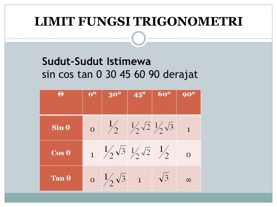 Sudut-Sudut Istimewa sin cos tan 0 30 45 60 90 derajat Θ0 30 0 45 0 60 0 90 0 Sin θ 01 Cos θ 1 0 Tan θ 0 1∞