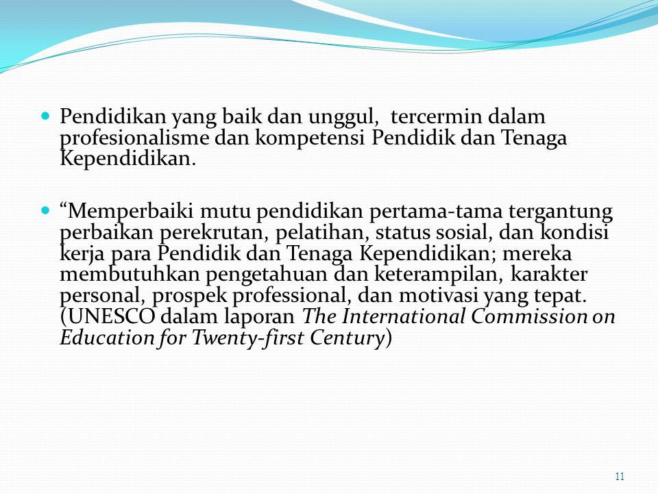 """Pendidikan yang baik dan unggul, tercermin dalam profesionalisme dan kompetensi Pendidik dan Tenaga Kependidikan. """"Memperbaiki mutu pendidikan pertama"""