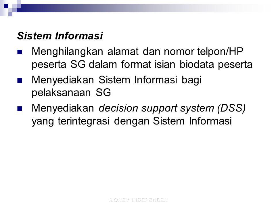 11/19/201424 MONEV INDEPENDEN Sistem Informasi Menghilangkan alamat dan nomor telpon/HP peserta SG dalam format isian biodata peserta Menyediakan Sistem Informasi bagi pelaksanaan SG Menyediakan decision support system (DSS) yang terintegrasi dengan Sistem Informasi