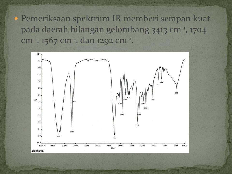 Pemeriksaan spektrum IR memberi serapan kuat pada daerah bilangan gelombang 3413 cm -1, 1704 cm -1, 1567 cm -1, dan 1292 cm -1.