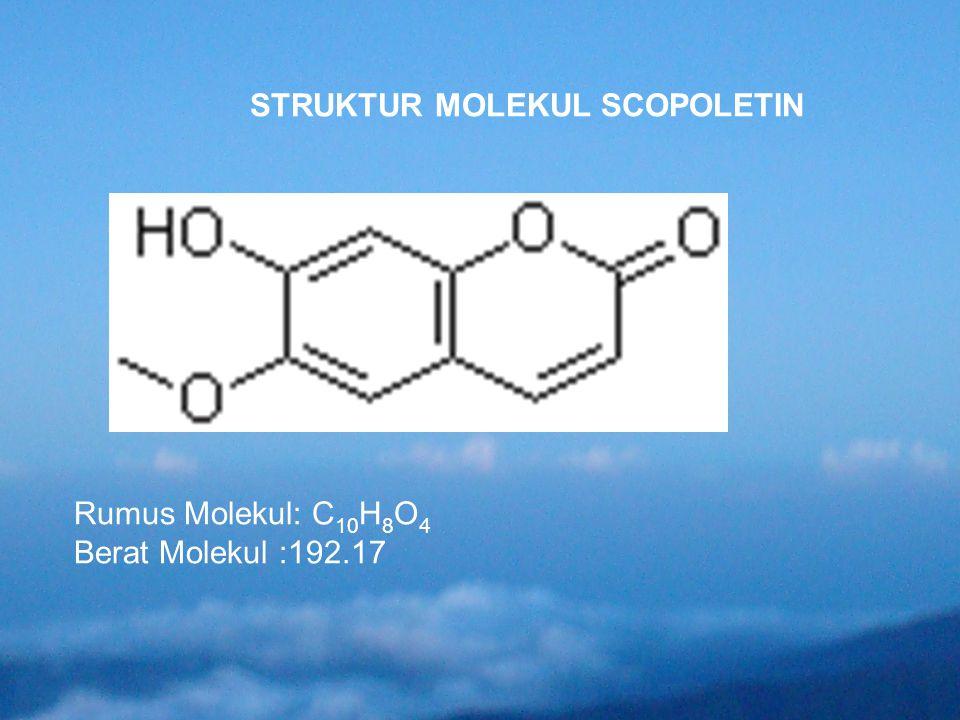 STRUKTUR MOLEKUL SCOPOLETIN Rumus Molekul: C 10 H 8 O 4 Berat Molekul :192.17