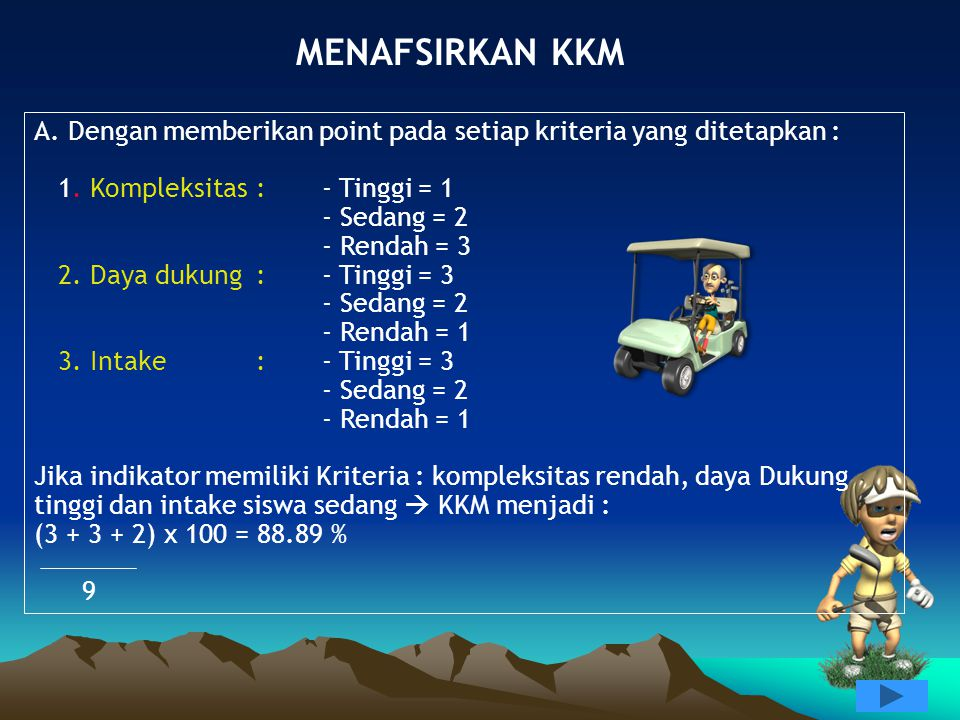 MENAFSIRKAN KKM A.Dengan memberikan point pada setiap kriteria yang ditetapkan : 1.