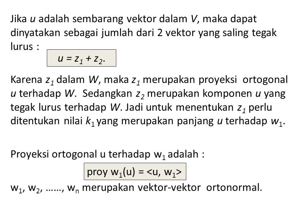 Jika u adalah sembarang vektor dalam V, maka dapat dinyatakan sebagai jumlah dari 2 vektor yang saling tegak lurus : Karena z 1 dalam W, maka z 1 meru