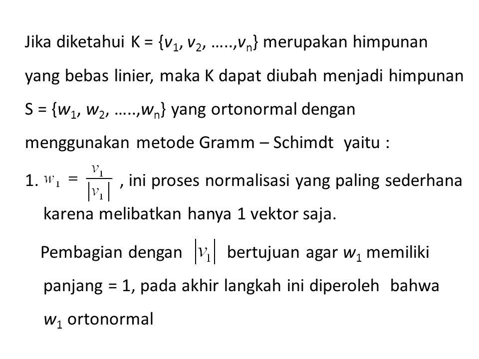 Jika diketahui K = {v 1, v 2, …..,v n } merupakan himpunan yang bebas linier, maka K dapat diubah menjadi himpunan S = {w 1, w 2, …..,w n } yang orton