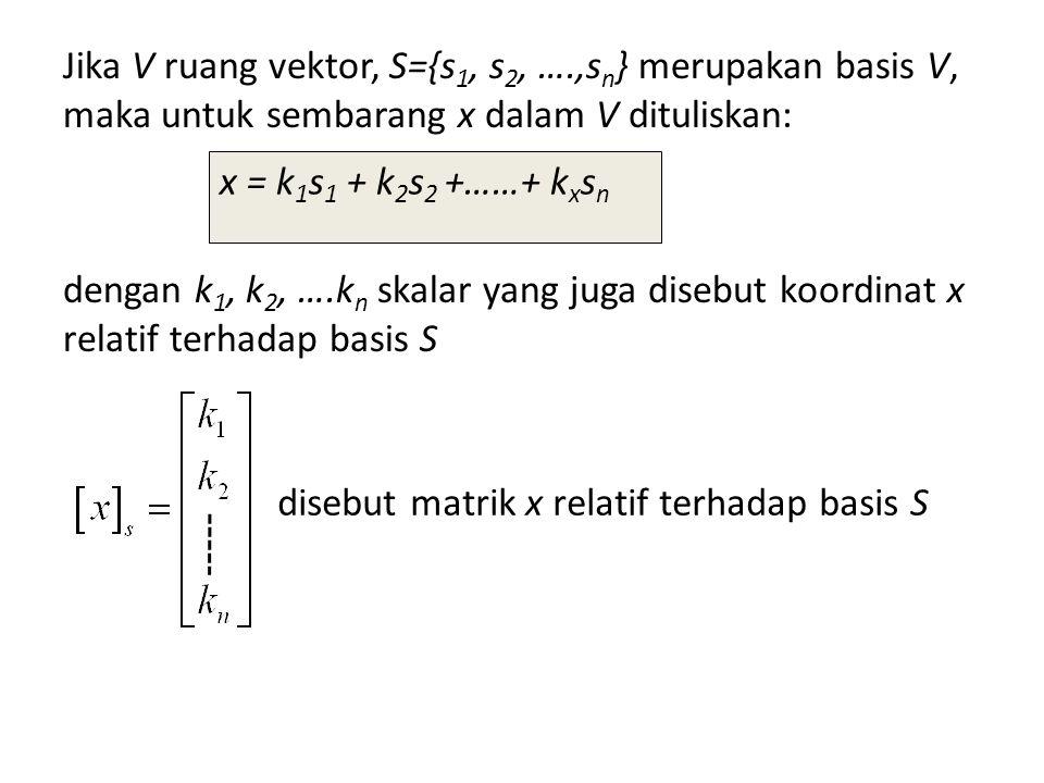 Jika V ruang vektor, S={s 1, s 2, ….,s n } merupakan basis V, maka untuk sembarang x dalam V dituliskan: dengan k 1, k 2, ….k n skalar yang juga diseb