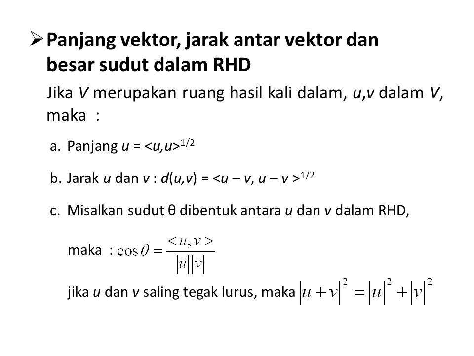  Panjang vektor, jarak antar vektor dan besar sudut dalam RHD Jika V merupakan ruang hasil kali dalam, u,v dalam V, maka : a.Panjang u = 1/2 b.Jarak