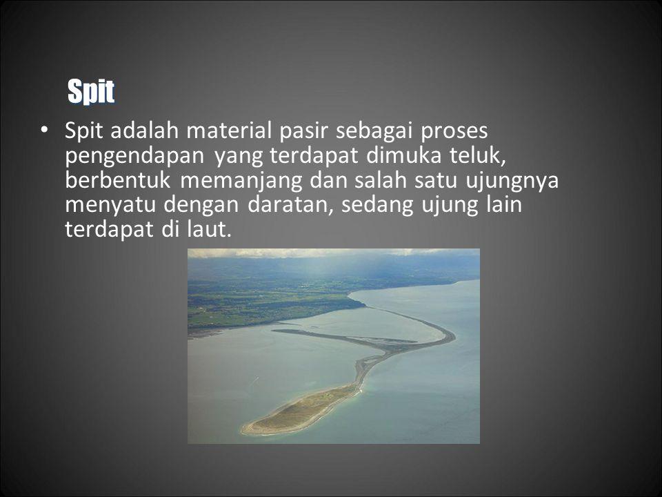 Spit Spit adalah material pasir sebagai proses pengendapan yang terdapat dimuka teluk, berbentuk memanjang dan salah satu ujungnya menyatu dengan daratan, sedang ujung lain terdapat di laut.