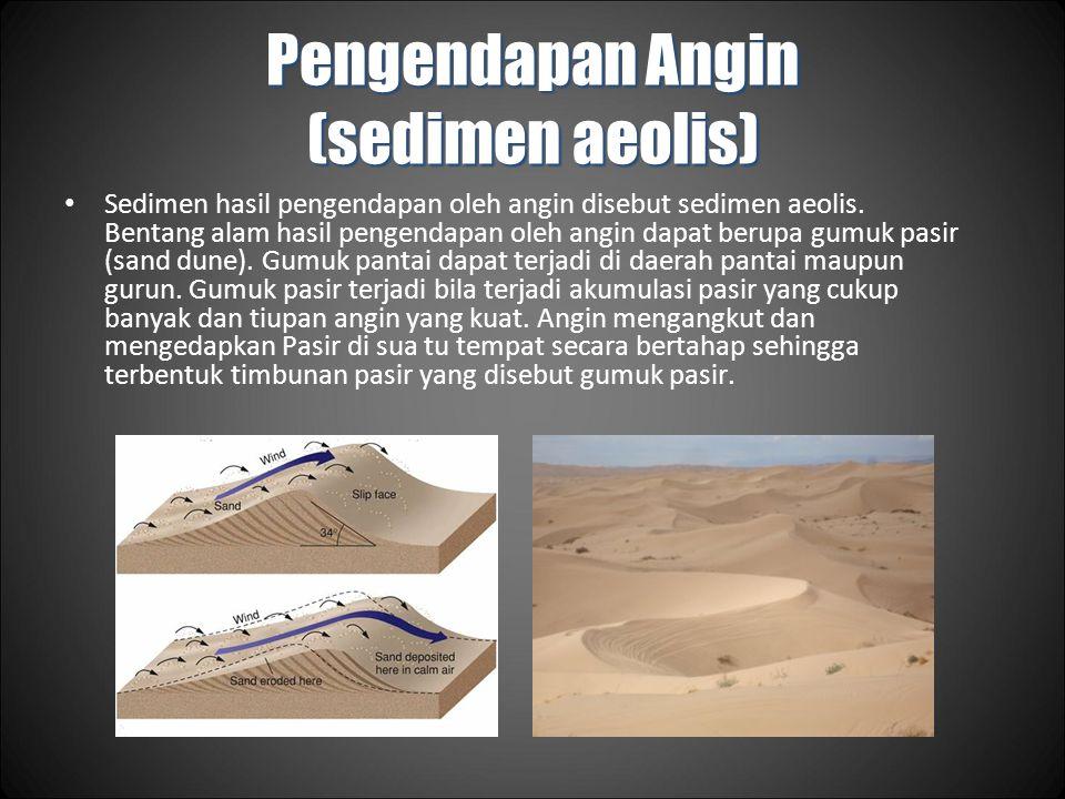 Pengendapan Angin (sedimen aeolis) Sedimen hasil pengendapan oleh angin disebut sedimen aeolis.