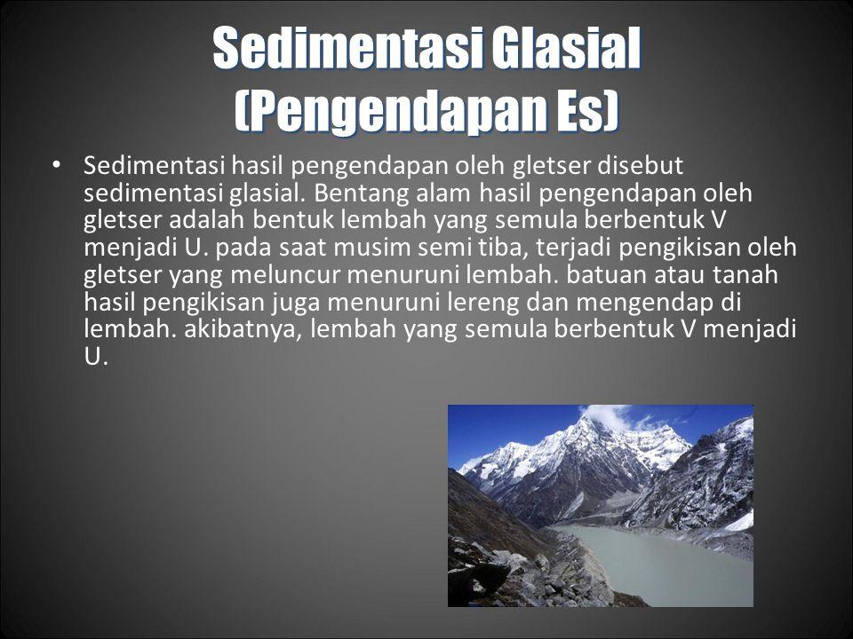 Sedimentasi Glasial (Pengendapan Es) Sedimentasi hasil pengendapan oleh gletser disebut sedimentasi glasial.