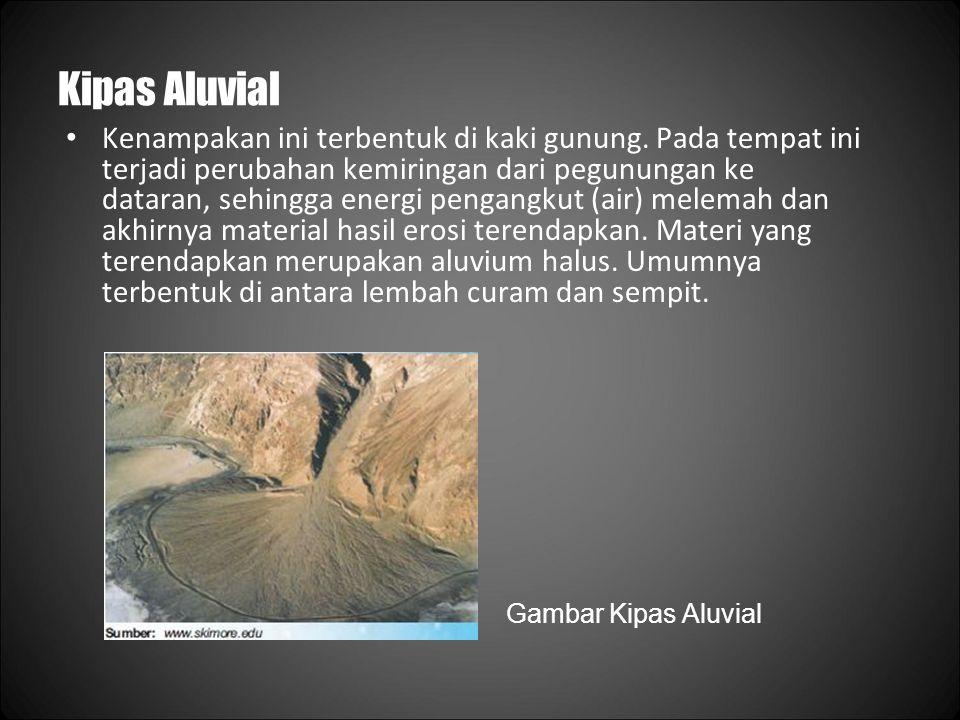 Kipas Aluvial Kenampakan ini terbentuk di kaki gunung.