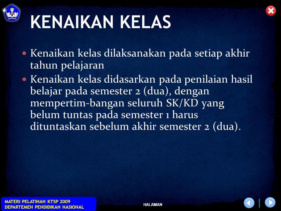 HALAMAN MATERI PELATIHAN KTSP 2009 DEPARTEMEN PENDIDIKAN NASIONAL KENAIKAN KELAS Kenaikan kelas dilaksanakan pada setiap akhir tahun pelajaran Kenaika