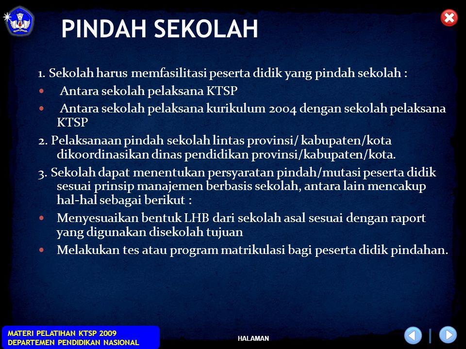 HALAMAN MATERI PELATIHAN KTSP 2009 DEPARTEMEN PENDIDIKAN NASIONAL PINDAH SEKOLAH 1.
