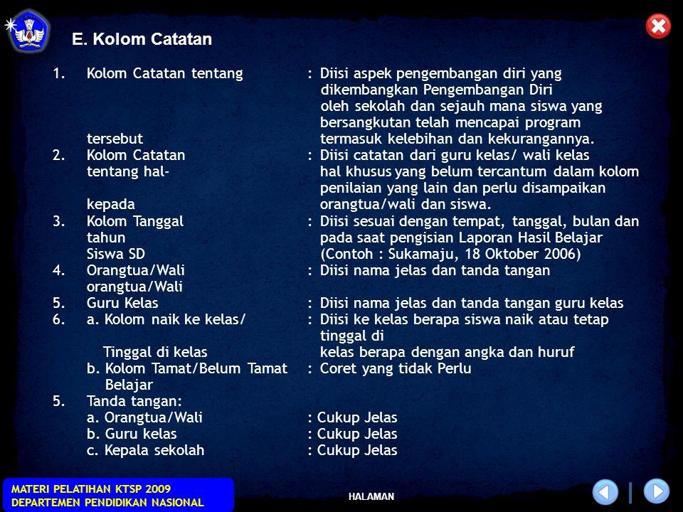 HALAMAN MATERI PELATIHAN KTSP 2009 DEPARTEMEN PENDIDIKAN NASIONAL E.