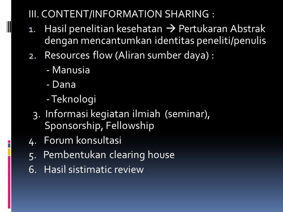 IV.CAPACITY BUILDING : 1. Pendampingan penelitian/konsultasi (expert/teknis) 2.